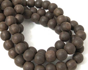 Unfinished Ebony Wood Bead, 10mm, Unwaxed, Dark Brown, Round, Small, Natural Wood Bead, 16 Inch Strand - ID 2357