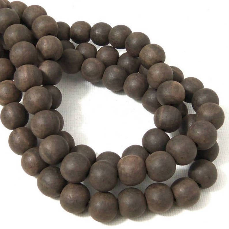 Unfinished Ebony Wood Bead 10mm Unwaxed Dark Brown Round image 0