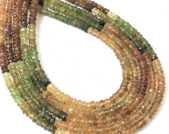 Golden Tourmaline, 3mm, Rondelle, Microfaceted, Multicolored, Natural Gemstone Beads, Untreated, Very Small, 13 Inch Strand - ID 2308