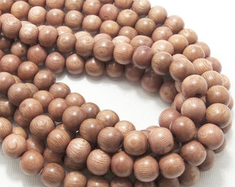 Rosewood, Round, 10mm, Smooth, Natural Wood Beads, Full 16 Inch Strand, 40pcs - ID 1051