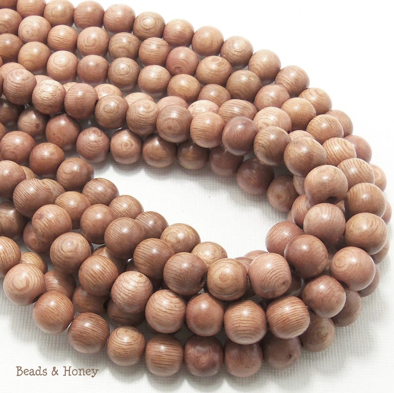 Rosewood Round 10mm Smooth Natural Wood Beads Full 16 image 0