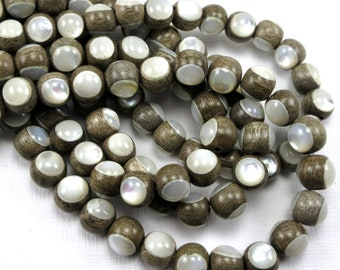 Graywood with White Mother-of-Pearl Inlay, 8mm, High Quality, Round, Smooth, Natural Wood, Artisan Inlaid Beads, 8-Inch Strand - ID 2482