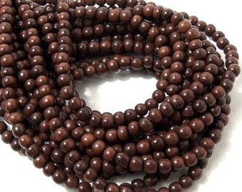 Magkuno Wood, 4mm - 5mm, Round, Smooth, Natural Wood Beads, Small, Full 16 Inch Strand, 90pcs - ID 1658-DK