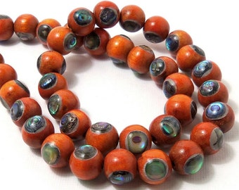 Sibucao Wood with Abalone Shell Inlay, 10mm, Natural Wood, Artisan Bead, Round, Smooth, 8-Inch Strand - ID 1584