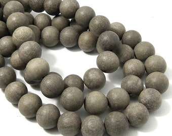 Unfinished Graywood, 12mm, Unwaxed, Round, Smooth, Natural Wood Beads, 16-Inch Strand - ID 2164