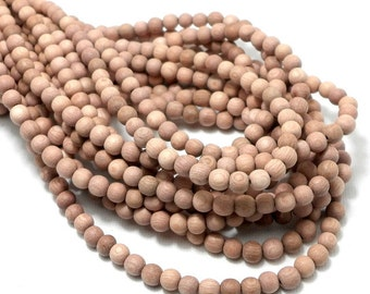 Unfinished Rosewood, 4mm - 5mm, Unwaxed, Round, Smooth, Natural Wood Beads, Small, Full strand, 90pcs - ID 1983