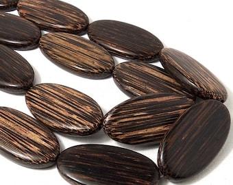 Patikan Wood, Oval, Flat, Smooth, Focal Bead, Old Palmwood, Natural Wood Beads, 8mm x 27mm x 52mm, Large, Big, 6pcs - ID 1857