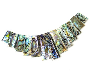 Abalone Shell, Half Cleopatra/Fan, Rectangular Blade, Natural Shell, Artisan Handmade Beads, One of a Kind, 4-inch Strand - ID 2711-002