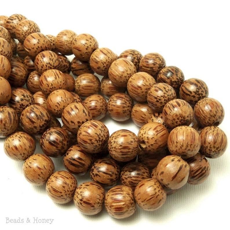 Palmwood Bead 12mm Round Smooth Natural Wood Beads Large image 0