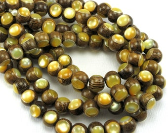 Robles Wood with Gold Mother-of-Pearl Inlay, 8mm, High Quality, Round, Smooth, Natural Wood, Artisan Inlaid Beads, 8-Inch Strand - ID 2491
