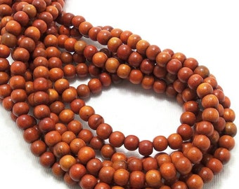Sibucao Wood, 6mm, Round, Small, Smooth, Natural Redwood Beads, 16 Inch Strand - ID 1401