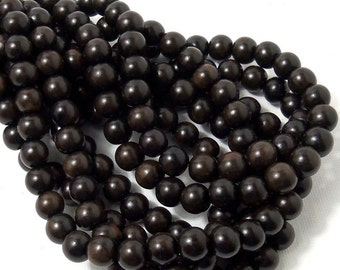 Ebony Wood Bead, 8mm, Round, Dark Brown and Black, Natural Wood Beads, Smooth, 16-Inch Strand - ID 1045-DK
