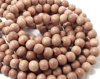 Rosewood, Round, 8mm, Small, Smooth, Pink/Tan, Natural Wood Beads, Artisan Handmade Bead, 16 Inch Strand - ID 1337