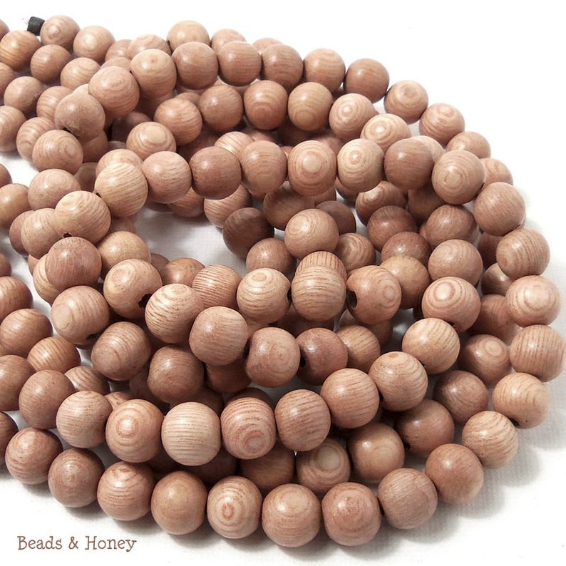 Rosewood Round 8mm Small Smooth Natural Wood Beads Full image 0