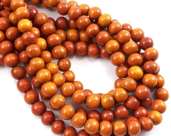 Sibucao Wood, 8mm, Round, Small, Smooth, Natural Redwood Beads, 16-Inch Strand - ID 1047