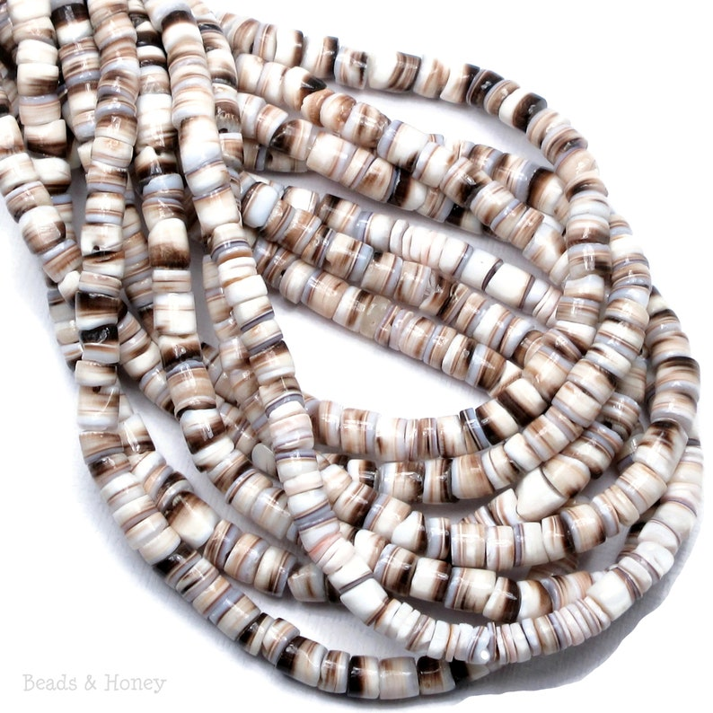 Tiger Cowrie Shell Heishi Beads 4-5mm Brown/White Artisan image 0