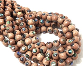 Rosewood Beads with Abalone Shell Inlay, 8mm, Natural Wood and Shell, Round, Smooth, 8-Inch Strand - ID 1581