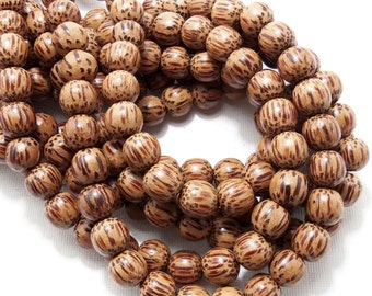 Palmwood Bead, 10mm, Round, Smooth, Natural Wood Beads, 16 Inch Strand - ID 1417