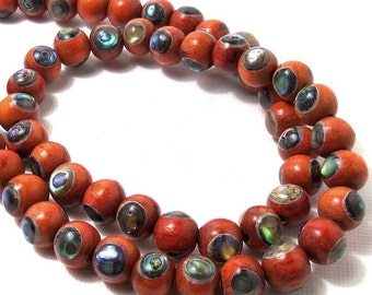 Sibucao Wood with Abalone Shell Inlay, Natural Wood, Artisan Bead, Round, Smooth, 8mm, 8-Inch Strand - ID 1583