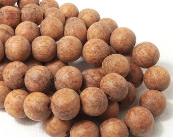 Unfinished Bayong Wood, 14mm-15mm, Unwaxed, Round, Smooth, Large, Natural Wood Beads, 16 Inch Full Strand - ID 1786