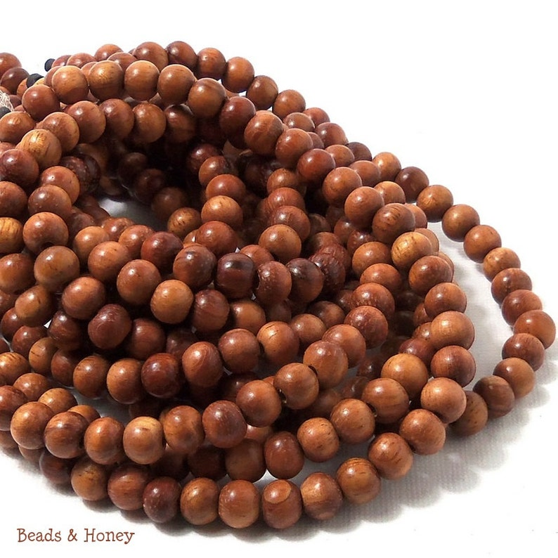 Bayong Wood  Round 6mm Smooth Small Natural Wood Beads image 0
