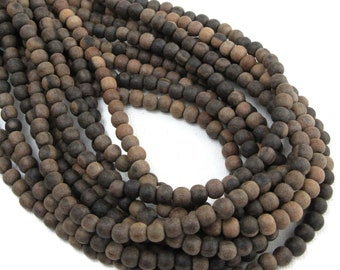 Unfinished Ebony Wood Bead, 4mm - 5mm, Unwaxed, Brown/Banded, Round, Small, Natural Wood Bead, 16 Inch Strand - ID 2354-BWN