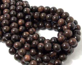 Tiger Ebony Wood, 10mm, Round, Dark Brown/Black, Smooth, Large, Natural Wood Beads, 16 Inch Strand - ID 1306