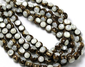 Patikan Wood with White Mother-of-Pearl Inlay, 8mm, High Quality, Round, Smooth, Natural Wood, Artisan Inlaid Beads, 8-Inch Strand - ID 2488