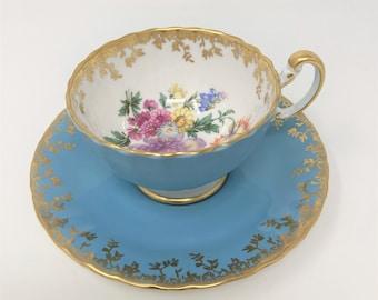 Aynsley Aqua Blue & Gold Floral Tea Cup and Saucer
