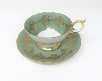 Aynsley Sage and Gold Leaves Teacup and Saucer