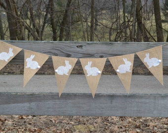 Bunny Banner  ..  Burlap Banner  ..  Easter Banner   ..  Easter Decoration ..  Rabbit
