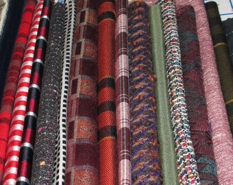 Masculine mix of plaids, tweeds and stripes -- CRAZY Quilt Fabric Package with Ribbon