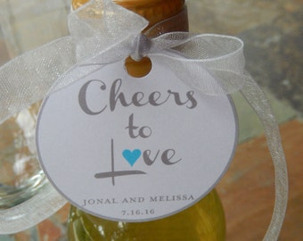 "40 - Wedding or Anniversary Custom 2"" Thank You Favor Tags - for you Mini Wine, Champagne, or Liquor Bottles - Cheers to Love heart tags"