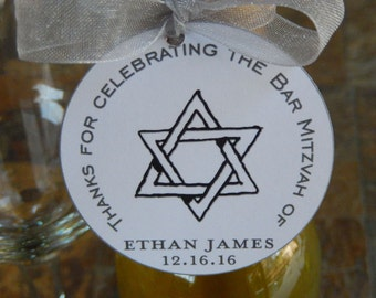 "50 - Bar Mitzvah custom 2"" Thank You Favor Tags - for your Mini Wine or Champagne Bottles - Mason Jar Gifts"