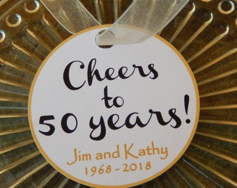 "40 - 50th Anniversary Custom 2"" Thank You Favor Tags - for your Mini Wine, Champagne or Liquor Bottles - Mason Jar Gifts - Cheers Favor Tags"