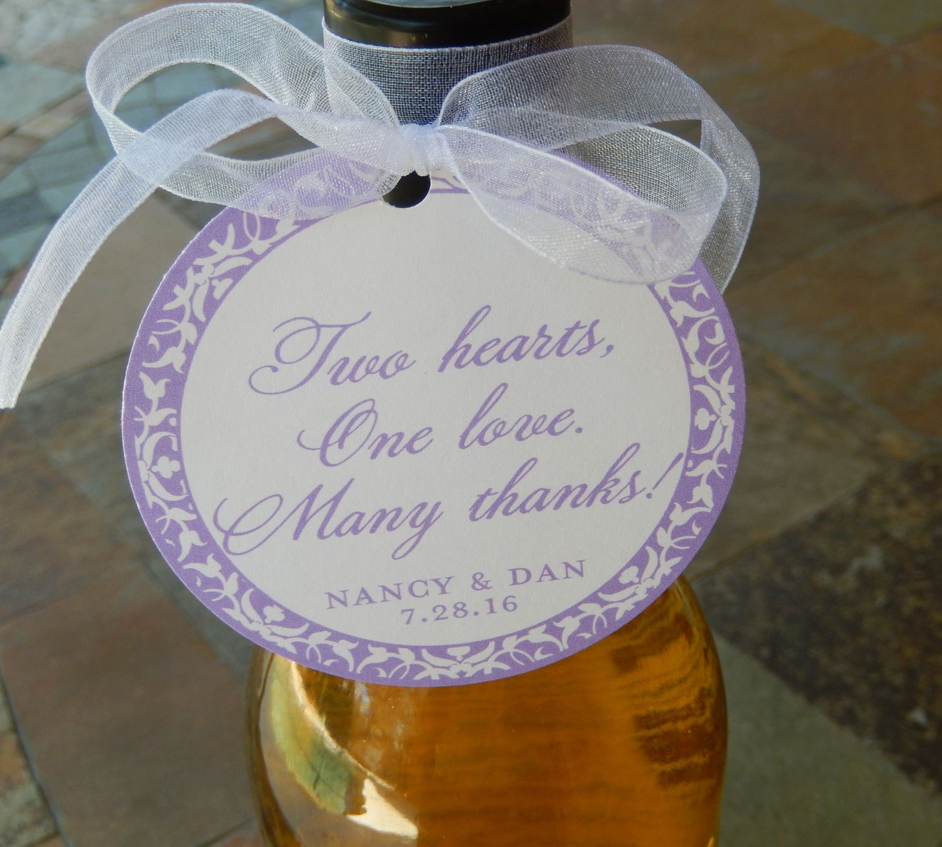 50 Custom 3 Wedding Favor Tags Two Hearts One Love Etsy