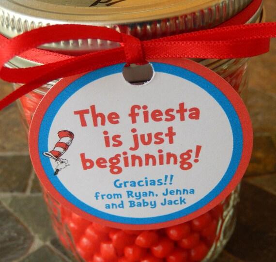 40 Dr Seuss Baby Shower Fiesta Custom 2 Thank You Favor Tags