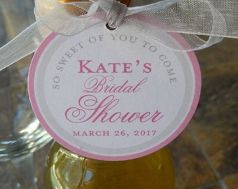 "40 - Bridal or Baby Shower Thank You Custom 2"" Favor Tags - for Mini Wine or Champagne Bottles - Cookie Favors - so sweet of you to come"