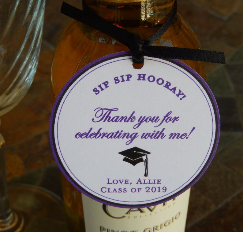 30 small Mason Jar or Cookie Gifts for your Mini Wine Graduation custom 2 Thank You favor Tags Champagne or Liquor Bottles
