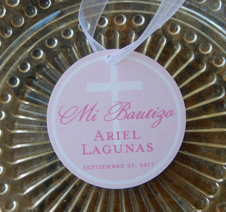 Spanish Baptism custom 2 Thank You Favor Tags 40 for your Mini Wine or Champagne Bottles
