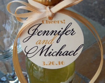 "40 - Cheers! custom Wedding or Anniversary 2"" Thank You Favor Tags - for your Mini Wine, Champagne or Liquor Bottles"
