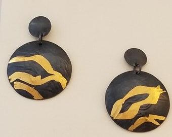 Keum boo post earrings, silver, 24k gold, artisan earrings