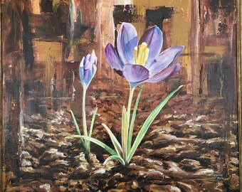 Purple Crocus Flower Original Acrylic Painting on wood, framed, large realistic art in brown and purple