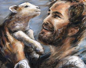 Jesus Lifting Lost Lamb Painting or Print, Inspirational Christian Art Portrait of Christ and Sheep