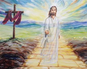 Custom Jesus portrait painting on canvas