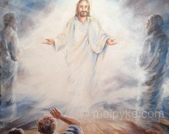 The Transfiguration of Jesus original painting on canvas / Christian Bible-based New Testament art