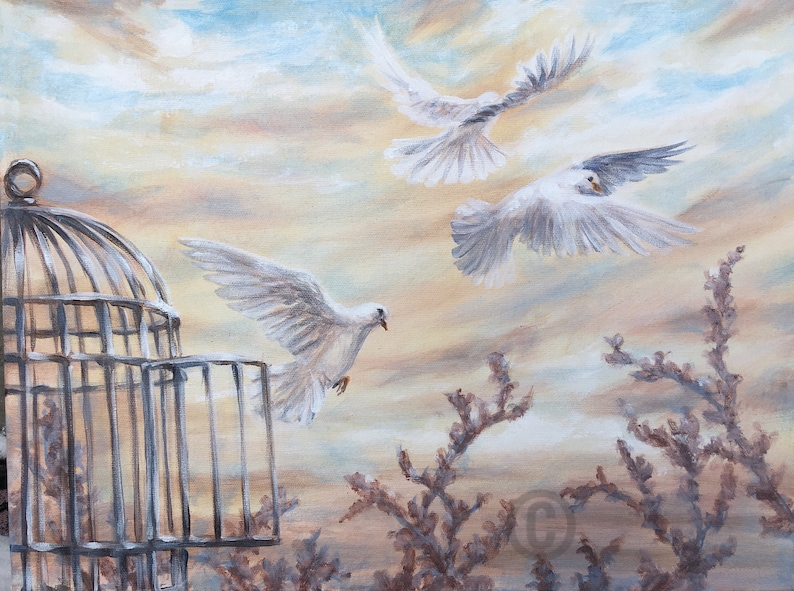 White Doves art print birds flying out of open cage sunset image 0