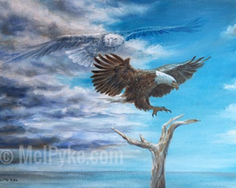 Oil Painting of Eagle Landing on Branch titled Safe Landing original inspirational wildlife art with ghost eagle and stormy sky over water,