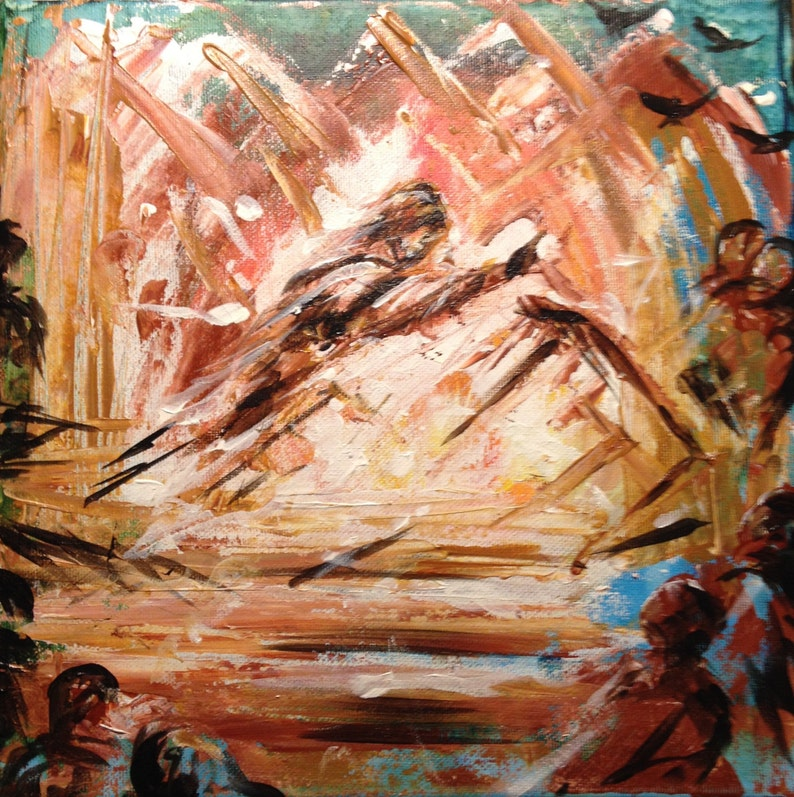 Jesus Clears the Temple  small abstract painting on canvas image 0