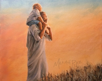 Original oil painting on canvas of Jesus Christ as a father figure carrying boy on shoulders up hill of thorns Proverbs 4 sunrise Bible art